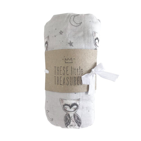 These Little Treasures - Organic Baby Muslin Swaddle - Owl