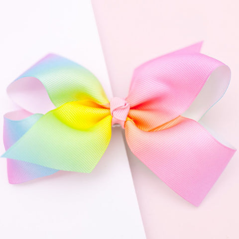 Lauren Hinkley - Large Grosgrain Pastel Rainbow Bow Hair Clip - August Lane