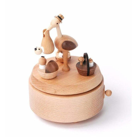 Wooderful Life - Baby Stork Delivery Music Box - August Lane