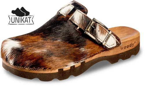 Lukas Fell - woody Holzschuhe - Clog mit Kuhfell