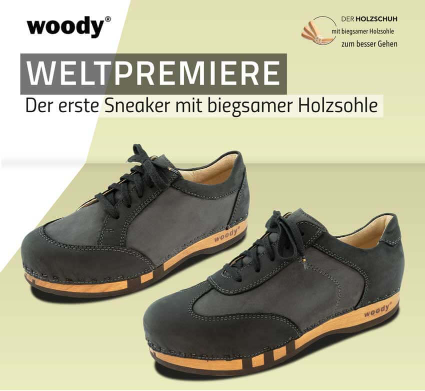 woody sneaker - world premiere of sneakers with flexible wooden sole - coming 2020