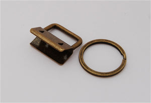 10 Pack Budget Key Fob Hardware, Antique Brass