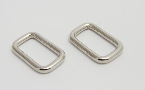 "3/4"" Wire Formed Silver Rectangle Rings, Two Colours"