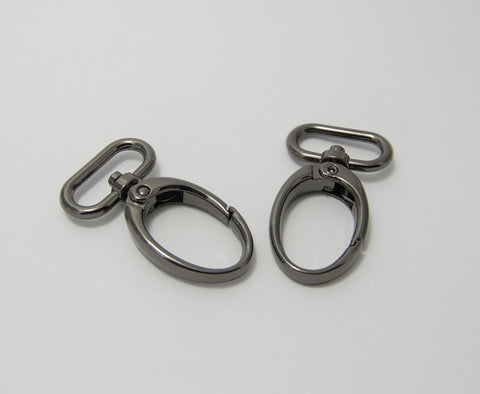 "1"" Egg Shape Snap Hooks in Silver and Gun Metal"