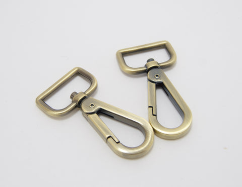 "1"" Snap Hooks in Brushed Antique Brass"