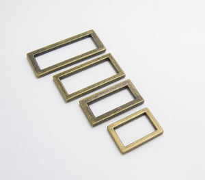 Rectangle Rings in 4 sizes, Antique Brass