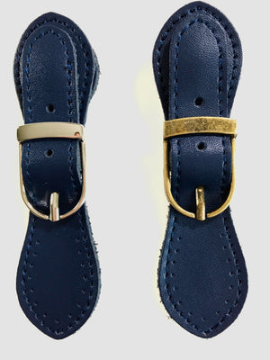 Pair of Leather Buckles with Magnetic Snap Fastening