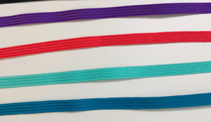 "Coloured Elastic for Masks - 1/4"", 4 colour pack"