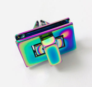 Iridescent Rainbow Rectangle Twist Lock