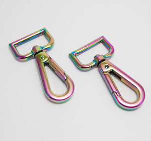"1"" Snap Hooks in Iridescent Rainbow"