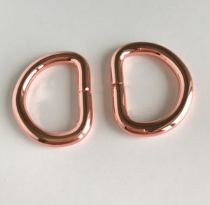 "1"" D Rings in Rose Gold"