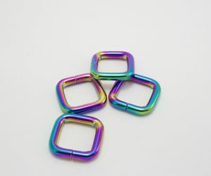 "Iridescent Rainbow 3/4"" square rings"