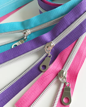 No.5 Metallic Look Nylon Teeth Zippers with Donut Zip Pulls, sold by the Yard