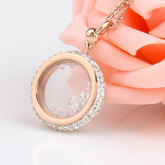 Floating Crystal Charm Stainless Steel Pendant 18ct Gold Plated