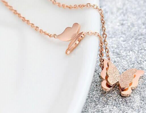Butterfly Necklace Stainless Steel Rose Gold Plated