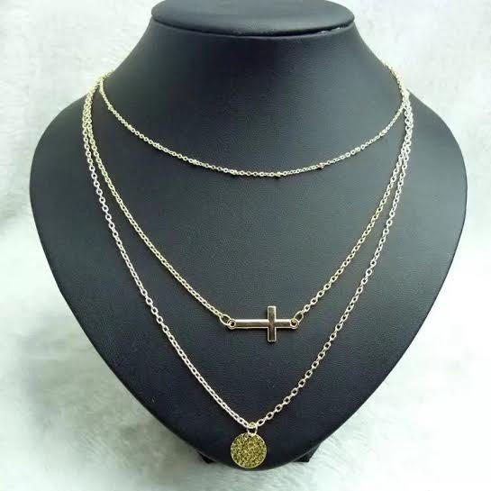 Layered Necklace With Cross