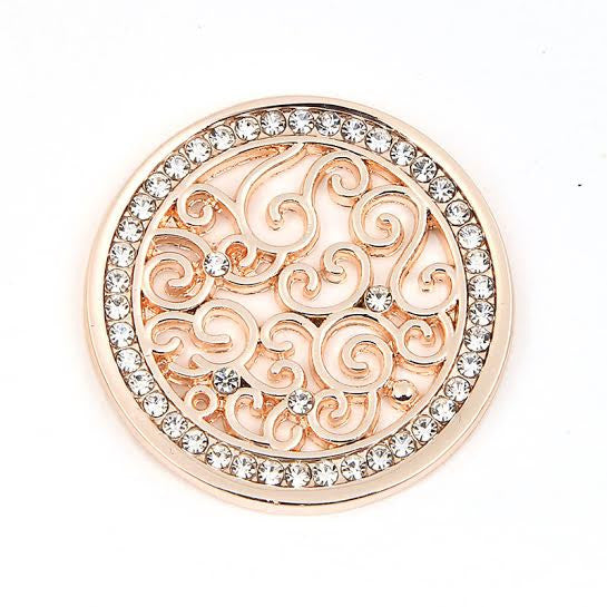 Diamanté & Swirls Disk Rose Gold Plated