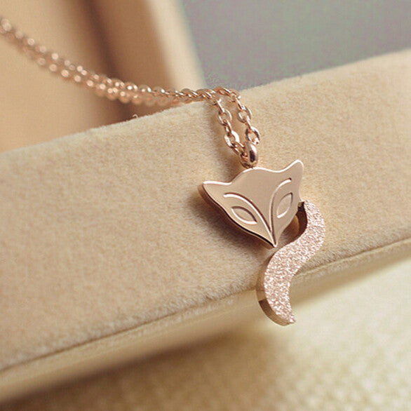 Stainless Steel Gold Plated Fox Necklace