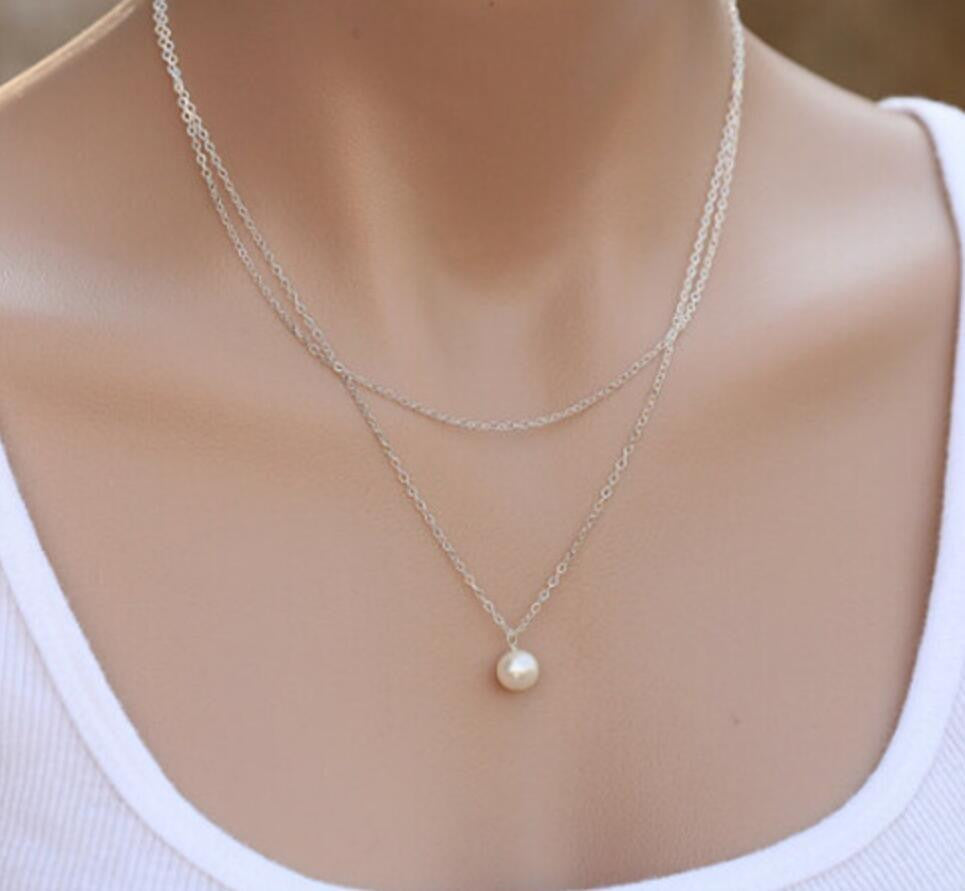 Layered Pearl Necklace in Silver and Gold