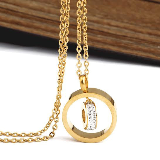 Diamanté Ring & Coin Pendant