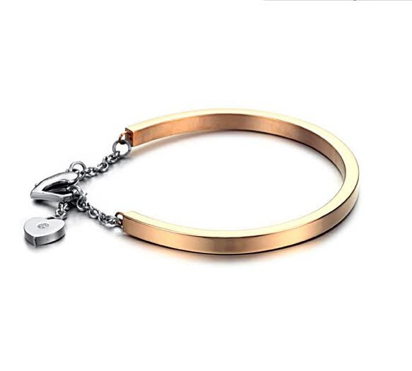 Solid Stainless Steel 18ct Gold Plated Cuff Bangle