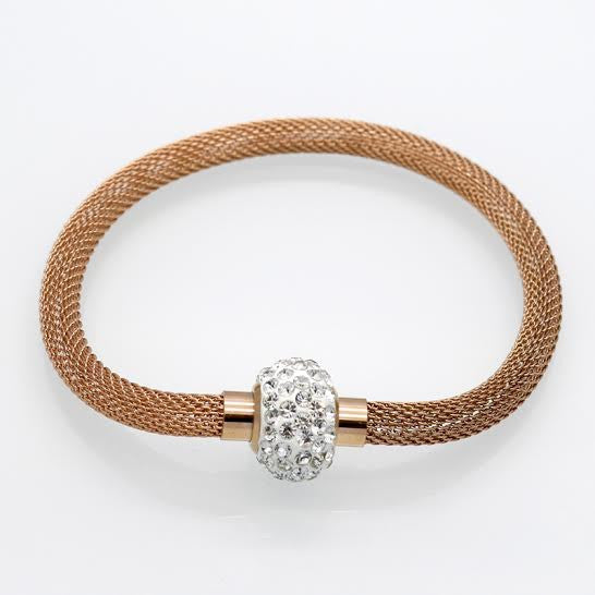 Mesh Rose Gold Stainless Steel Diamanté Links Look Bracelet