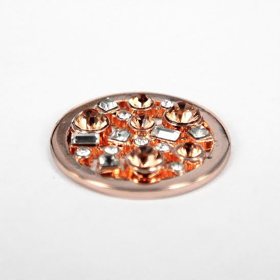 Rose Gold Plated Disk with Diamanté Stones
