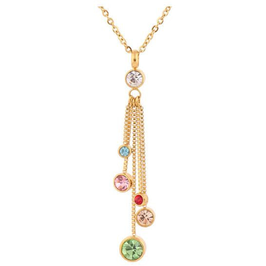 Fabergé Style 18ct Gold Plated Diamanté Drop Necklace