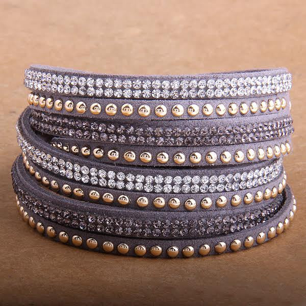 Double Wrap Leather Bracelet with Crystals Grey