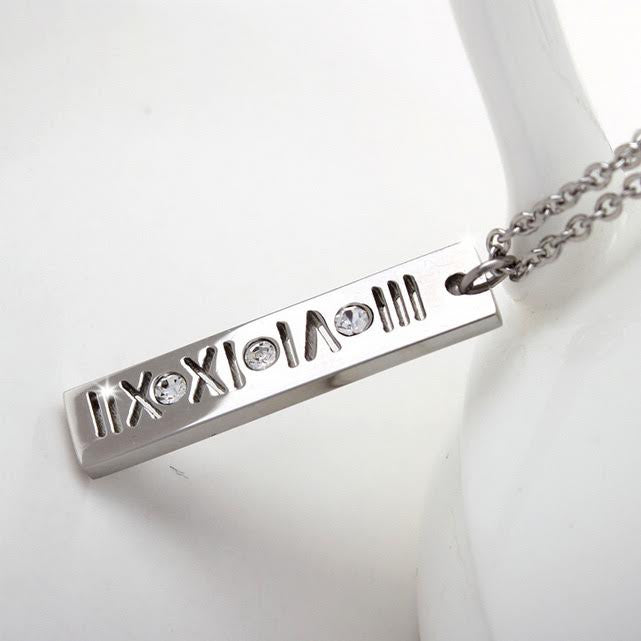Roman Numeral Diamanté Rentangle Pendant
