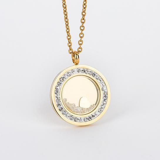 Gold Stainless Steel Pendant with Incrusted Diamanté