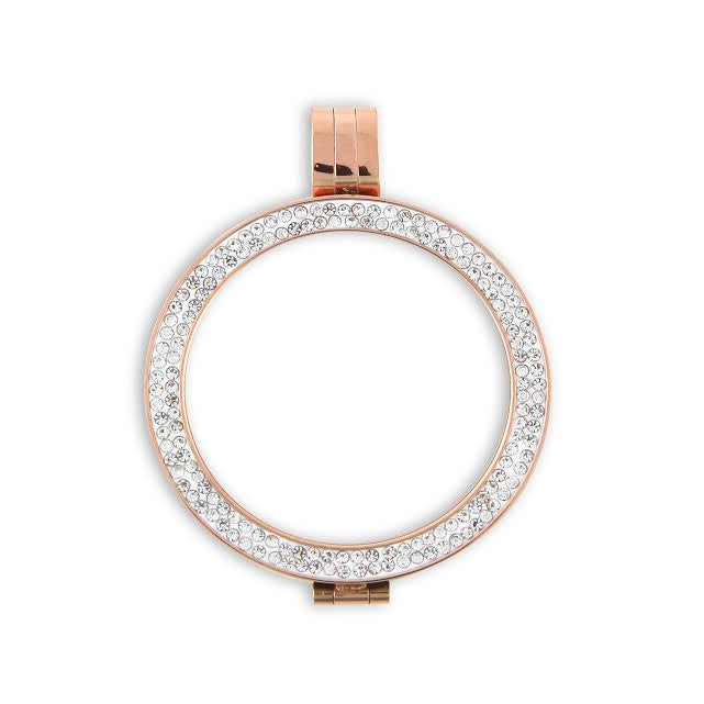 Rose Gold Plated Diamanté Incrusted Coin Holder