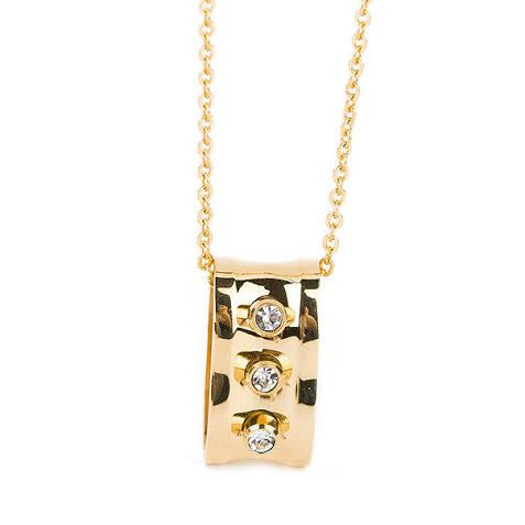 Gold Plated Stainless Steel Diamanté Necklace