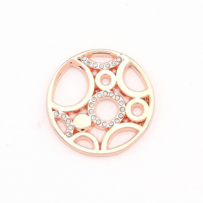 Diamanté & Rose Gold Plated Disk with Circles