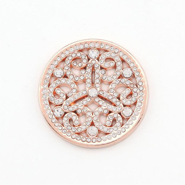 Diamanté & Rose Gold Plated Disk with Swirls