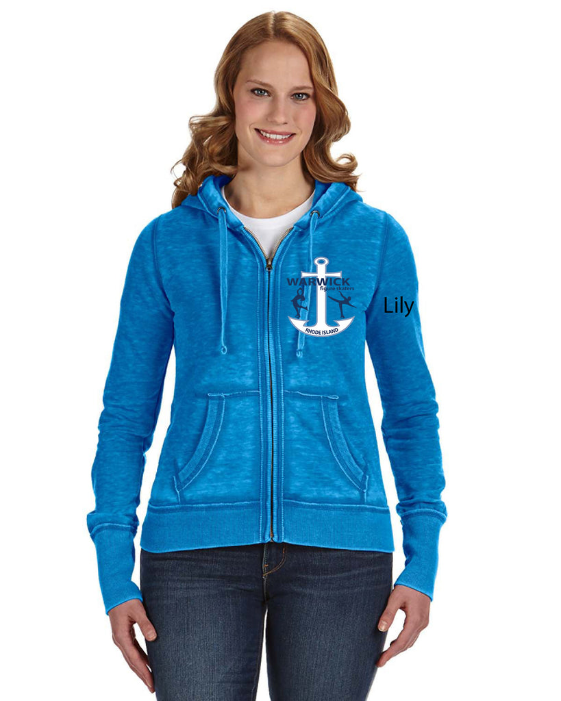 J America Ladies' Zen Full-Zip Fleece Hood