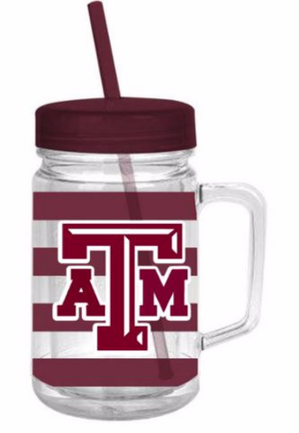 Aggies!! 24oz Preppy Stripe Double Wall Mason Jar Tumbler with decal and monogram!