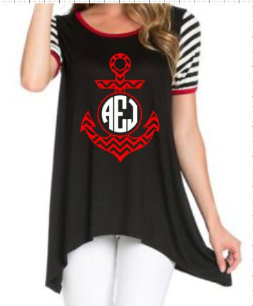 Black Top With Stripe Sleeves and Anchor Monogram