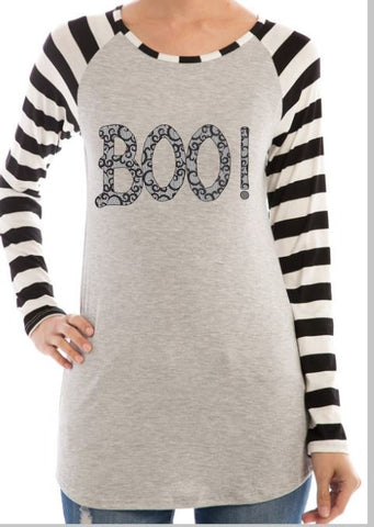 Boo! Halloween Shirt! Fabulous Striped Sleeve Raglan Fashion Top with Black Lace Pattern Lettering!