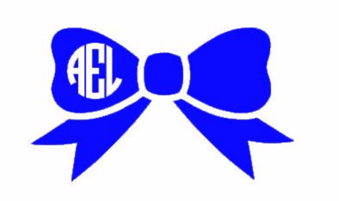 Bow with Circle Monogram Decal! You Choose the Color & Initials for Personalization!