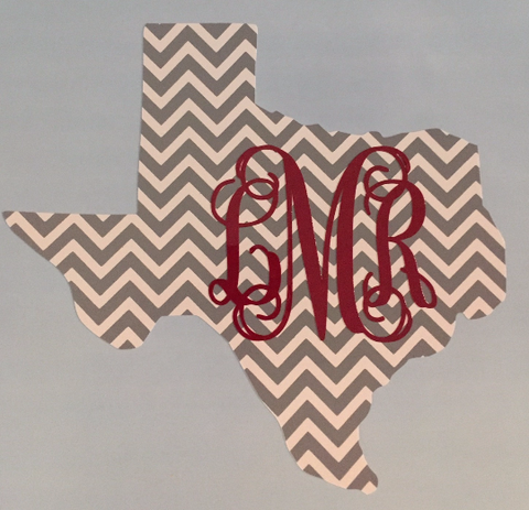 Chevron State of Texas with Vine Monogram! Choose Chevron Color & Monogram Color!