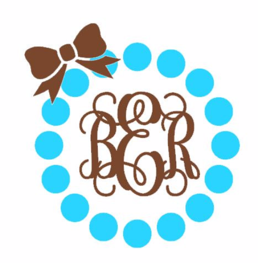 Circle Border with Vine Monogram and Bow! Choose Colors, Initials for Monogram & Size!