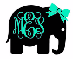 Elephant with Vine Monogram and Bow Decal