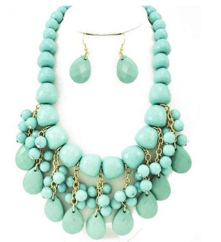 Gold Tone and Mint Acrylic Charm Necklace Set