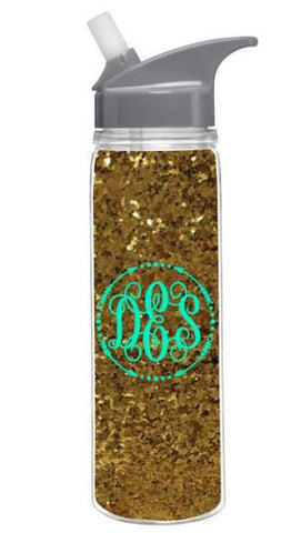 Monogrammed Personalized 18 oz Gold Glitter Loop Water Bottle