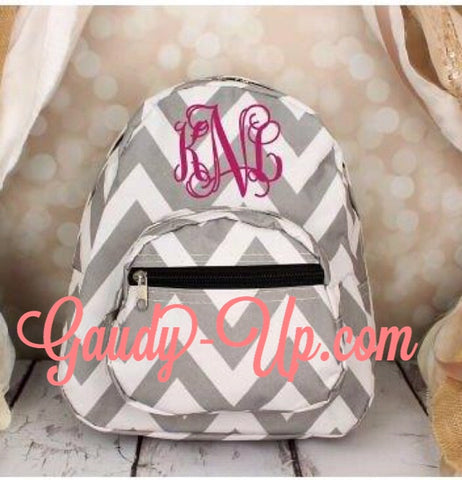 Monogrammed Grey and White Chevron Mini Backpack