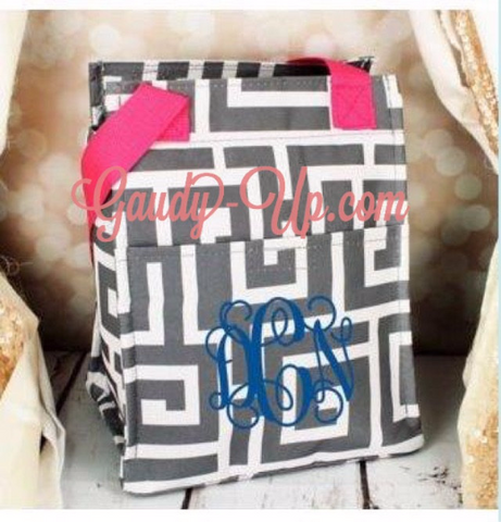 Monogrammed Grey & White Greek Key Insulated Lunch Tote
