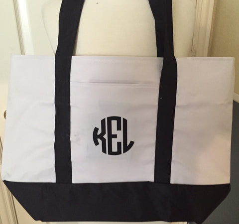 Monogrammed Giant Beach Lake Tote! Choose Your Tote Color, Monogram Style & Color