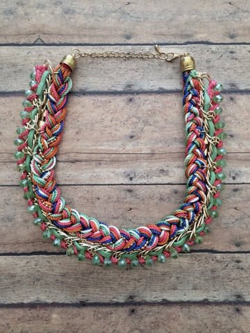 Gold Tone, Green & Multi Color Braided Thread Cord & Suede & Glass Crystal & Clear Rhinestone Necklace