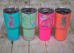 SIC Powder Coated Cup Tumbler 30 ounce GLACIER with Patterned Monogram!